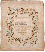 sampler, Martha Fonerden, Baltimore, 1788
