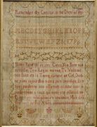 Needlework Sampler, Mary Ann Stokes