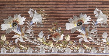 Embroidered silk border in the style of Jean Francois Boby