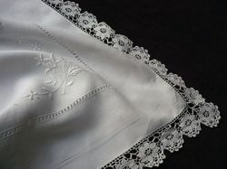 luxury linen and lace embroidered euro square
