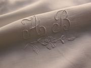 white embroidered monogram ab