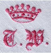 red monogram with red crown