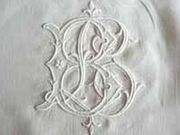 white embroidered monogram bl