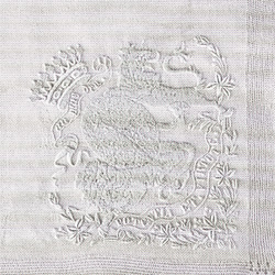 Embroidered  crown and coat of arms