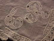 antique embroidered t r monogram on linon linen frabric